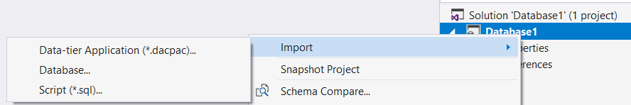 New DB project with SSDT and import existing database