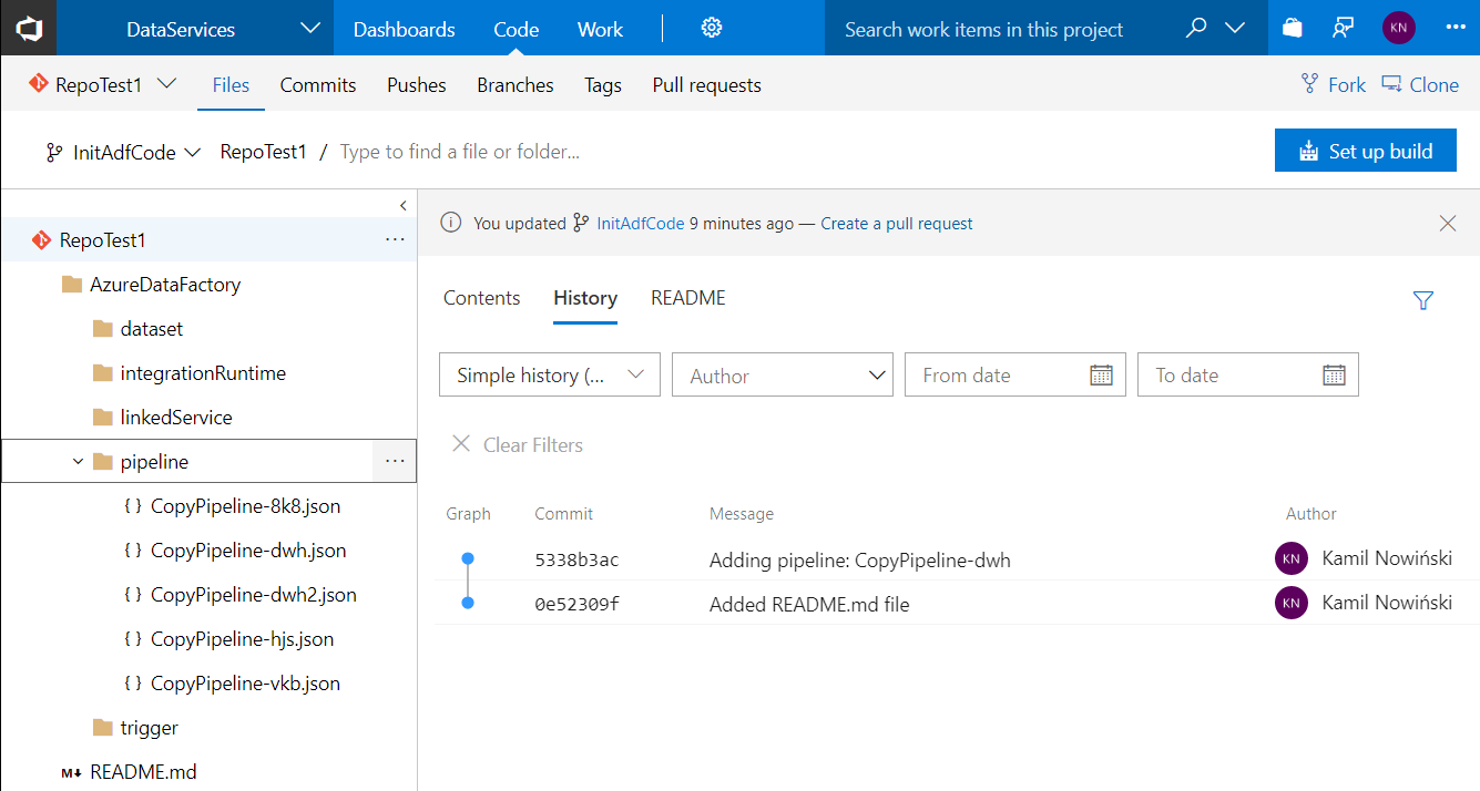 Setting up Code Repository for Azure Data Factory v2 | SQL